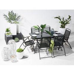 Stół ogrodowy czarny - na balkon - na taras - stal - 140x80 cm - livo marki Beliani