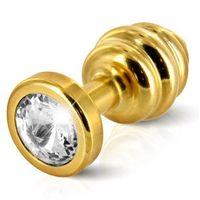 Plug analny zdobiony - Diogol Ano Butt Plug Ribbed Gold Plated 35 mm Złoty z kategorii Wtyczki i korki analne