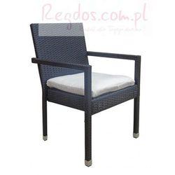 Krzesło rattanowe - Czarne fotel do ogrodu - produkt z kategorii- Krzesła ogrodowe