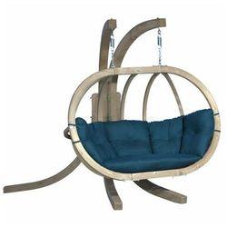 Fotel wiszący drewniany ze stojakiem - Bubble Double Wood Sea Green