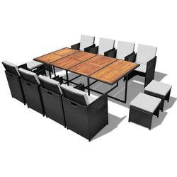 Vidaxl zestaw mebli ogrodowych, czarny, 33 elem. drewno akacjowe i technorattan (8718475501374)