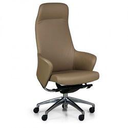 Fotel biurowy Supreme, skóra prawdziwa, brażowy