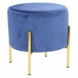 Niebieska pufa glamour welwetowa - Nahia