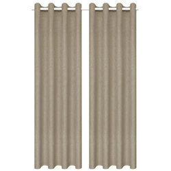 Zasłony stylizowane na lniane, 2 szt., 140 x 225 cm, beżowe marki Vidaxl