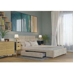 Big meble Łóżko 180x200 tapicerowane bergamo + 2 szuflady welur beżowe