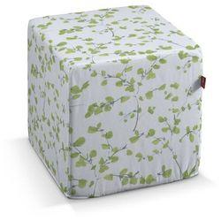 Dekoria Pufa kostka twarda, zielone listki na białym tle, 40x40x40 cm, Aquarelle, kolor zielony