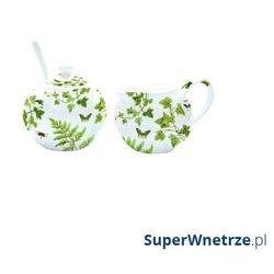 Nuova r2s Cukiernica z łyżeczką + mlecznik do kawy romantic liście