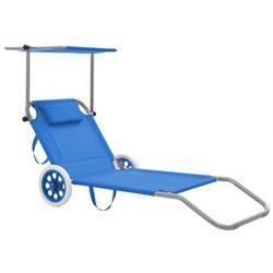 Niebieski leżak ogrodowy z kółkami i zadaszeniem - miriam marki Elior