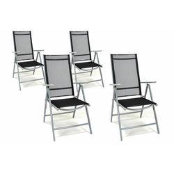 Komplet ogrodowy 4 czarnych krzeseł składanych