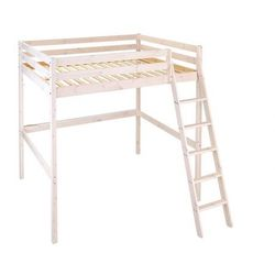 Łóżko antresola GEDEON - 140 × 190 cm - Lite drewno sosnowe - Bielone