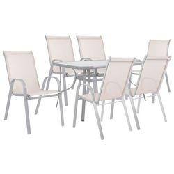 Meble ogrodowe zestaw ogrodowy dla 6 osób metal i szkło beżowy