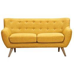 Sofa 2-osobowa z tkaniny SERTI - Miodowa żółć z dopasowanymi dekoracyjnymi guzikami, kolor żółty