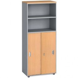 Szafa biurowa, przesuwne drzwi na 3 półki, 1781x800x420 mm, buk