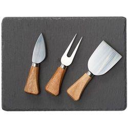 Oryginalny zestaw do serwowania sera, 4 elementy, 3 sztućce do sera, deska ze skały łupkowej, widelczyk do sera, marka marki Zeller