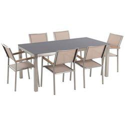 Zestaw ogrodowy szary ceramiczny blat 180 cm 6 beżowych krzeseł grosseto marki Beliani