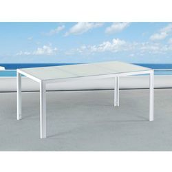 Stół ogrodowy biały - 160 cm - meble ogrodowe - aluminium - CATANIA (4260580935741)