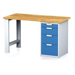 B2b partner Stół warsztatowy mechanic, 1500x700x880 mm, 1x szufladowy kontener, 4 szuflady, szary/niebieski