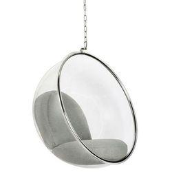 Fotel wiszący bubble poduszka jasnoszara - korpus akryl, poduszka wełna marki Sofa.pl