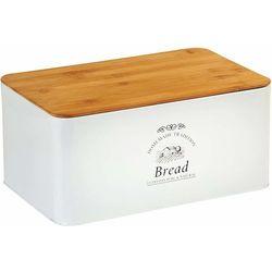 Nowoczesny chlebak z deską bambusową w białym kolorze, designerski i praktyczny pojemnik na pieczywo marki Kesper