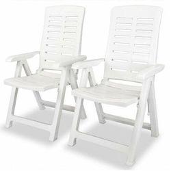 vidaXL Rozkładane krzesło ogrodowe, 2 szt., plastikowe, białe, vidaxl_43895