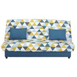 Rozkładana kanapa z tkaniny SALOON ze skrzynią - Kolor niebieski z nadrukiem GRAPHIC