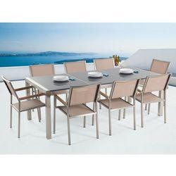 Meble ogrodowe - stół granitowy 220 cm szary polerowany z 8 beżowymi krzesłami - grosseto, marki Beliani