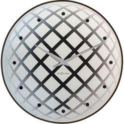 Okrągły zegar ścienny z wahadłem pendula  srebrny marki Nextime