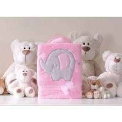 kocyk dla dzieci długowłosy dwustronny z haftem słonik różowy marki Mamo-tato