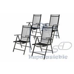 Garthen Komplet ogrodowy 4 składanych krzeseł - czarny