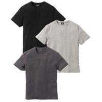T-shirt (3 szt.) Regular Fit bonprix jasnoszary melanż + antracytowy melanż + czarny