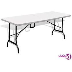 vidaXL Składany stolik ogrodowy, biały, 180x75x74 cm, HDPE, kolor biały