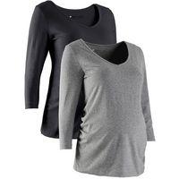 Shirt ciążowy z rękawami 3/4 (2 szt.), bawełna organiczna bonprix czarny + szary melanż, w 6 rozmiarach