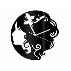 Congee.pl Zegar z pleksi na ścianę twarz kobiety z białymi wskazówkami (5907509936081)