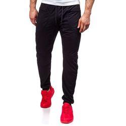 Czarne spodnie dresowe baggy męskie Denley 6016 - CZARNY, kolor czarny