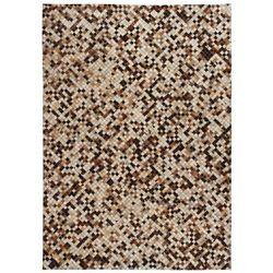 Patchworkowy dywan ze skóry bydlęcej, 80x150 cm, brązowo-biały marki Vidaxl