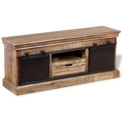 Vidaxl  szafka pod tv z drewna mango przesuwanymi drzwiczkami 110x30x45 cm (8718476017614)
