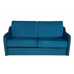 Sofa dla 3 osób, rozkładana w trybie ekspresowym, z weluru COTIO - Niebieski, kolor niebieski