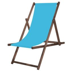 Leżak drewniany impregnowany z materiałem niebieskim