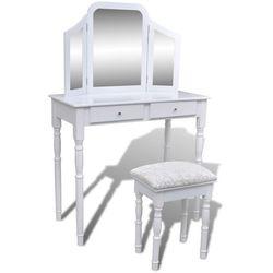 Vidaxl toaletka z 3-częściowym lustrem, 2 szufladami i stołkiem, biała (8718475873808)