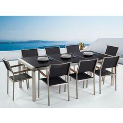 Meble ogrodowe - stół granitowy czarny polerowany 220 cm z 8 czarnymi krzesłami - GROSSETO (7081453976572)