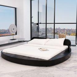 vidaXL Rama łóżka ze sztucznej skóry, 180x200 cm, okrągła, czarna (8718475531739)