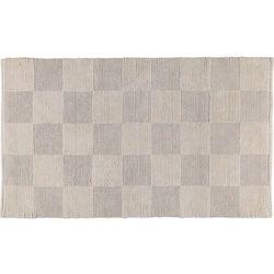 Dywanik łazienkowy szachownica 70 x 120 cm beżowy tkany ręcznie marki Cawo