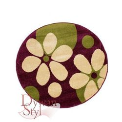 Dywan Trendy flowers fioletowy/zielony 200x200 koło