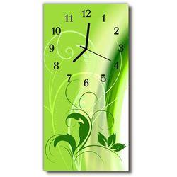 Zegar Szklany Pionowy Sztuka Grafika roślina zielony, kolor zielony