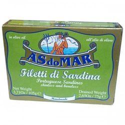 Sardynki portugalskie- filety bez skóry i ości w oliwie 105g ASdoMAR (przetwór rybny)