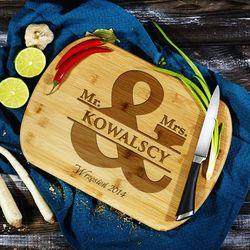 Mygiftdna Pan i pani kowalscy - deska do krojenia z grawerem - deska bambusowa