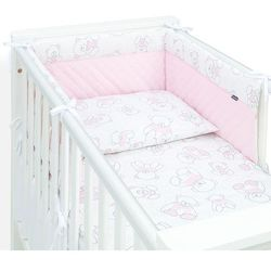 3-el pościel do łóżeczka 70x140 lux velvet pik - misie różowe / jasny róż marki Mamo-tato