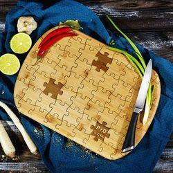 Puzzle - deska do krojenia z grawerem - Deska bambusowa