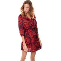 Sukienka Donatella czarna w czerwone wzory, kolor czerwony