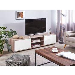 Beliani Szafka rtv jasne drewno z białym lincoln (4251682228497)